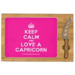 [Crown] keep calm and love a capricorn  Cheese Board Rectangular Cheese Board
