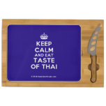 [Crown] keep calm and eat taste of thai  Cheese Board Rectangular Cheese Board