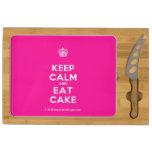 [Cupcake] keep calm and eat cake  Cheese Board Rectangular Cheese Board