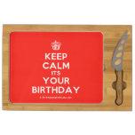 [Cupcake] keep calm its your birthday  Cheese Board Rectangular Cheese Board