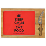 [Cutlery and plate] keep calm and eat food  Cheese Board Rectangular Cheese Board