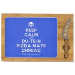[Skull crossed bones] keep calm and du-te-n pizda matii chiriac  Cheese Board Rectangular Cheese Board