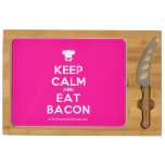 [Chef hat] keep calm and eat bacon  Cheese Board Rectangular Cheese Board