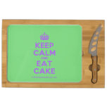 [Crown] keep calm and eat cake  Cheese Board Rectangular Cheese Board