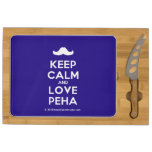 [Moustache] keep calm and love peha  Cheese Board Rectangular Cheese Board