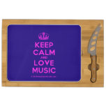 [Dancing crown] keep calm and love music  Cheese Board Rectangular Cheese Board