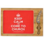 [Crown] keep calm and come to church  Cheese Board Rectangular Cheese Board