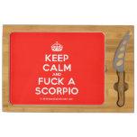 [Crown] keep calm and fuck a scorpio  Cheese Board Rectangular Cheese Board