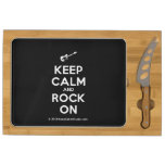 [Electric guitar] keep calm and rock on  Cheese Board Rectangular Cheese Board