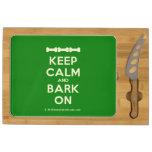 [Dogs bone] [Dogs bone] [Dogs bone] keep calm and bark on  Cheese Board Rectangular Cheese Board