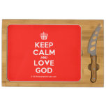 [Cupcake] keep calm and love god  Cheese Board Rectangular Cheese Board