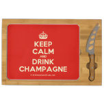 [Crown] keep calm and drink champagne  Cheese Board Rectangular Cheese Board