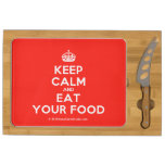 [Crown] keep calm and eat your food  Cheese Board Rectangular Cheese Board