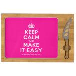 [Crown] keep calm and make it easy  Cheese Board Rectangular Cheese Board