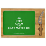 [Crown] keep calm and beat mater dei  Cheese Board Rectangular Cheese Board