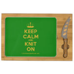 [Knitting crown] keep calm and knit on  Cheese Board Rectangular Cheese Board