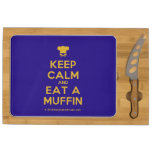 [Chef hat] keep calm and eat a muffin  Cheese Board Rectangular Cheese Board