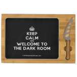 [Crown] keep calm and welcome to the dark room  Cheese Board Rectangular Cheese Board