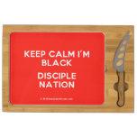 keep calm i'm black disciple nation  Cheese Board Rectangular Cheese Board