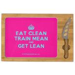 [Crown] eat clean train mean and get lean  Cheese Board Rectangular Cheese Board