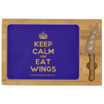 [Crown] keep calm and eat wings  Cheese Board Rectangular Cheese Board