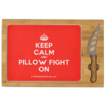 [Crown] keep calm and pillow fight on  Cheese Board Rectangular Cheese Board