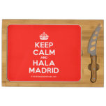 [Crown] keep calm and hala madrid  Cheese Board Rectangular Cheese Board