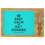 [Crown] keep calm and eat cookies  Cheese Board Rectangular Cheese Board