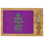 [Dancing crown] keep calm and love nyc  Cheese Board Rectangular Cheese Board