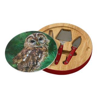Cheese board tawny owl in fir tree