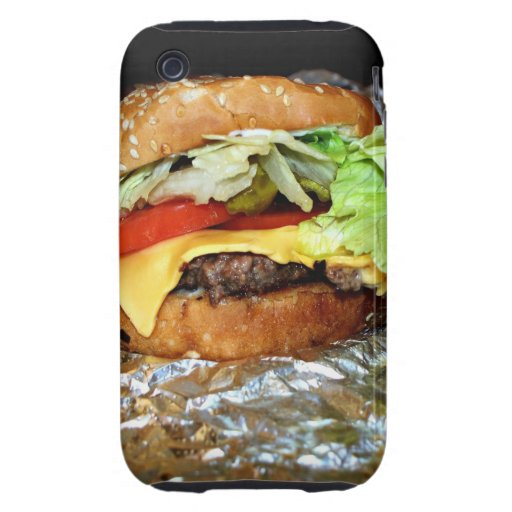 """Cheese""Burger Tough iPhone 3 Cases"