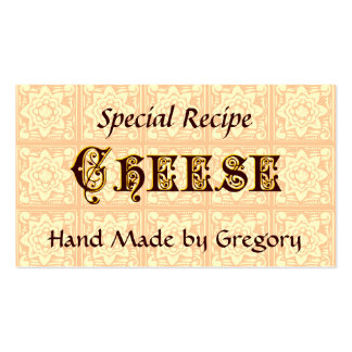 Cheese Custom Recipe Tag Vintage Art Double-Sided Standard Business Cards (Pack Of 100)