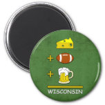 Cheese Football Beer Equal Wisconsin Funny 2 Inch Round Magnet