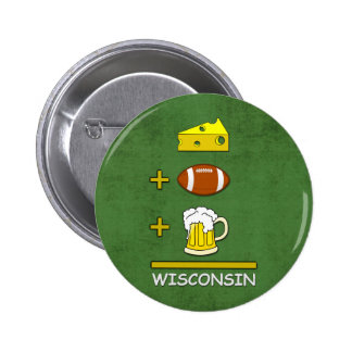 Cheese Football Beer Wisconsin Funny Button