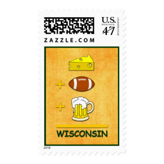 Cheese Football Beer Wisconsin Funny Math Postage