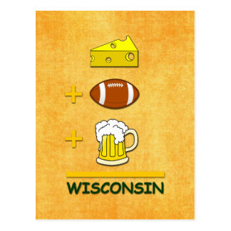 Cheese Football Beer Wisconsin Funny  Math Postcard