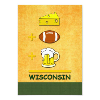 "Cheese Football Beer Wisconsin 5"" X 7"" Invitation Card"