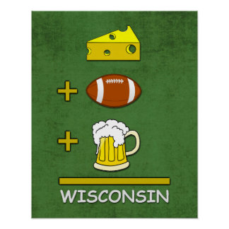 Cheese Football Beer Wisconsin Poster