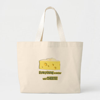 cheese goes with everything large tote bag