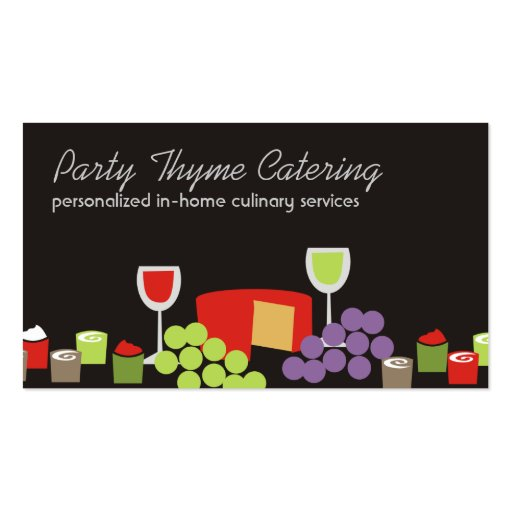 Cheese grapes wine appetizers catering biz cards business card template