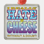 Cheese Hate Face Square Metal Christmas Ornament
