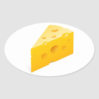 Cheese Illustration Oval Sticker