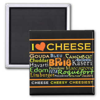 Cheese Lovers 2 Inch Square Magnet
