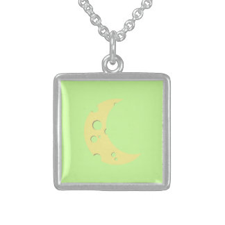 cheese moon square pendant necklace