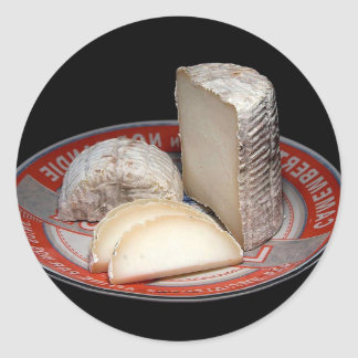 CHEESE PLATTER WITH CHEESE SLICES - CHEESE GIFT ROUND STICKER
