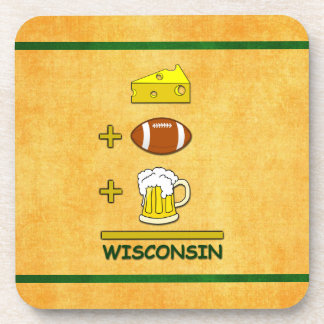 Cheese Plus Football Plus Beer Equals Wisconsin Coasters