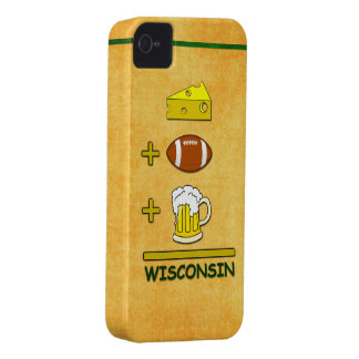 Cheese Plus Football Plus Beer Equals Wisconsin iPhone 4 Case-Mate Case