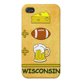 Cheese Plus Football Plus Beer Equals Wisconsin iPhone 4 Cover