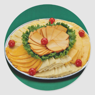 Cheese slice decorated on tray stickers
