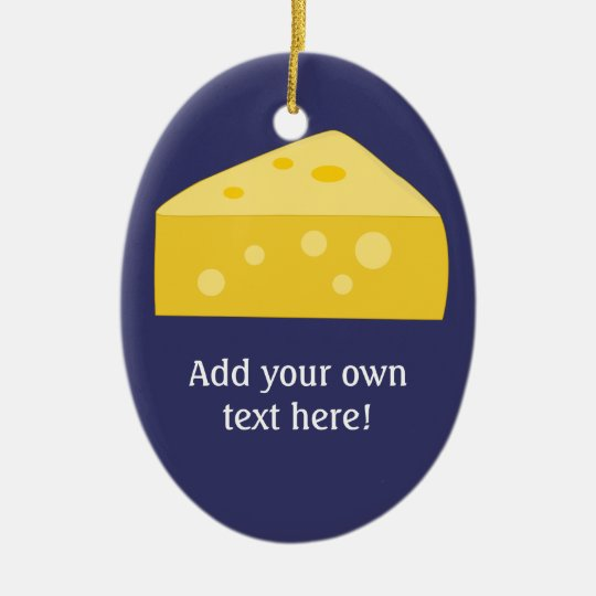 Cheese Wedge graphic to Personalize Ceramic Ornament